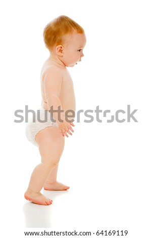 Young beauty baby isolated on white background - stock photo