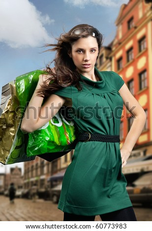 Young beauty brunette shopping