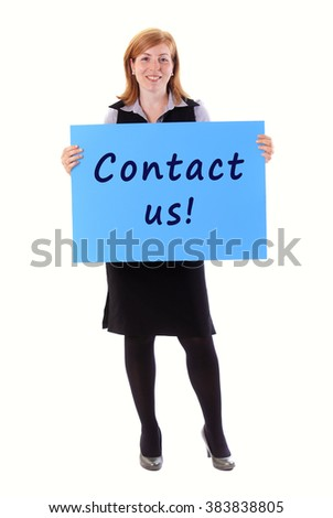 Young beauty business woman hold paper contact us on it