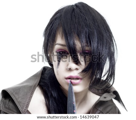 young & beauty emo girl photo - stock photo