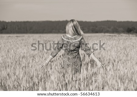 young beauty girl in the wheat field - stock photo