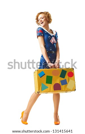 Young beauty girl keep big vintage suitcase over white background - stock photo