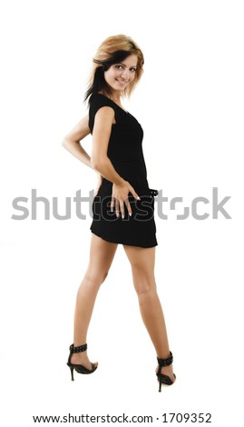 Young beauty girl portraitl posing in a cute black dress - isolated on white - very high resolution - stock photo