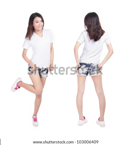 Young beauty girl show blank white T-shirt in full length, empty copy space in the image is ready for your design or logo, model is a asian woman - stock photo