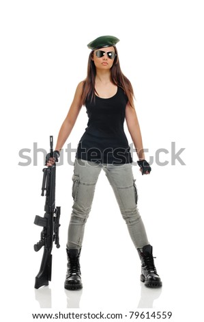 young beauty girl with machine-gun on white background - stock photo