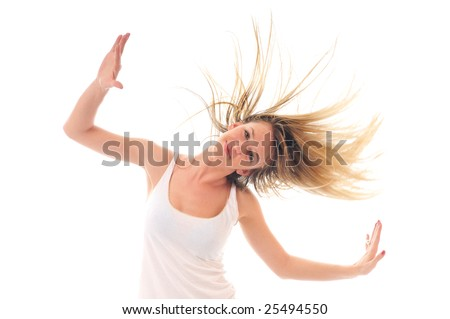 young beauty happy party woman dance with wind in hair isolated - stock photo