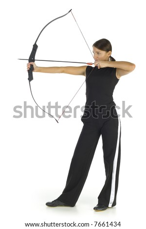 Young, beauty holding bow and taking aim at something. Isolated on white in studio. Whole body, side view - stock photo