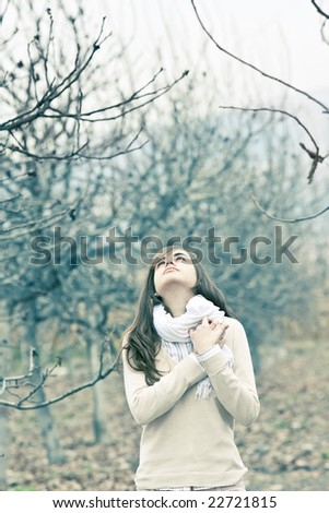 Young beauty in emotional portrait. - stock photo