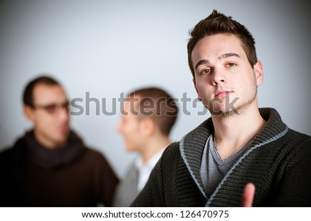 Young beauty male posing in front of camera,Italy - stock photo