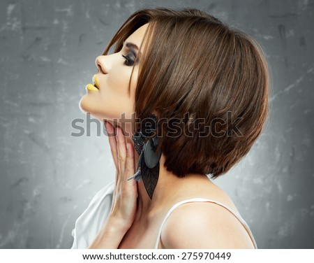 young beauty model with bob haircut. profile view. beauty face . medium hairdress. - stock photo