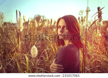 Young beauty. Portrait of young beautiful woman, in the high autumnal grass in sunset light. - stock photo