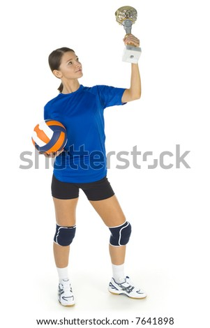 Young, beauty volleyball player. Holding ball and cup in hands. White background. Whole body, front view - stock photo