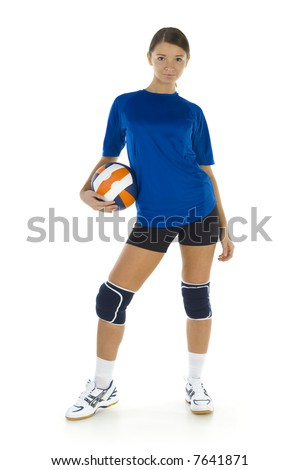 Young, beauty volleyball player. Holding ball and looking at camera. Isolated on white in studio. Whole body, front view - stock photo