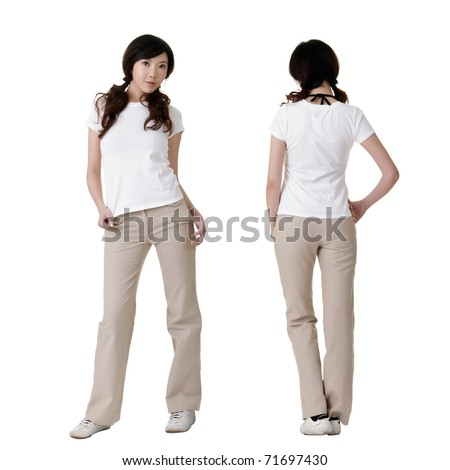 Young beauty with blank white shirt, ready for your design or logo. - stock photo