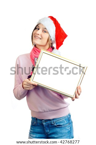 Young beauty woman in red hat with white blank on white background - stock photo