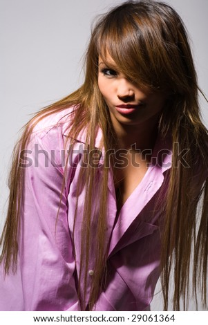 young beauty woman on grey - stock photo
