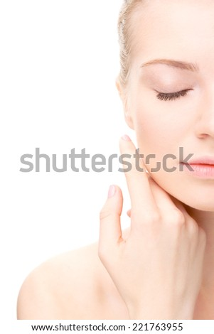 Young beauty woman portrait. Girl Touching her Face. closed eyes. Half head. Studio shot. Isolate on white. Health Care, cosmetic concept. Blank for commercial advertising