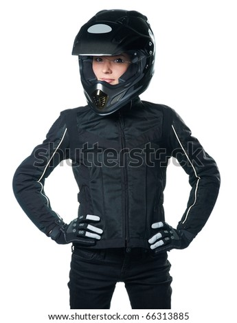 Young beauty woman posing in black motorcycle clothing and helmet. Isolated on white background. - stock photo