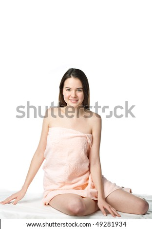 young beauty woman spa in towel - stock photo