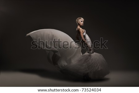 Young beauty woman wearing gorgeous dress - stock photo