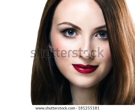Young beauty woman with copy space. Professional makeup with red lips. - stock photo