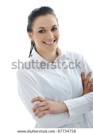 Young beauty woman with white shirt - stock photo