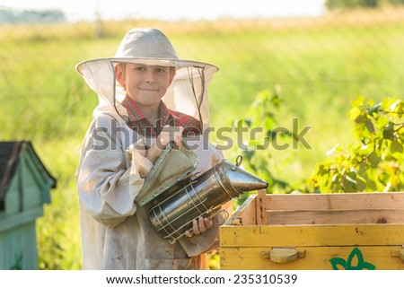 Young beekeeper is working in an apiary - stock photo
