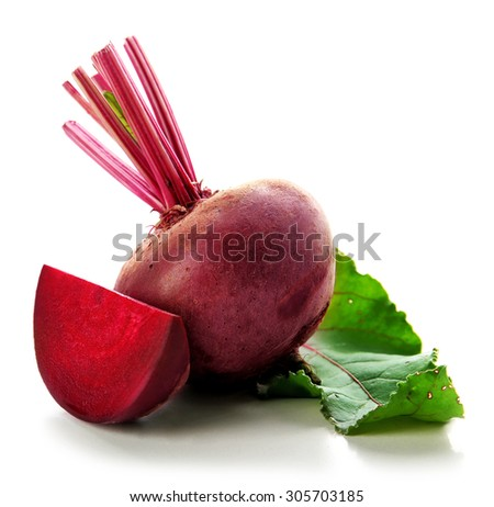 Young beets with leaf isolated on white - stock photo