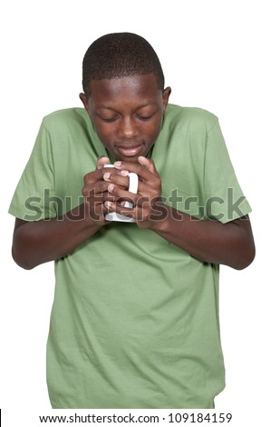 Young black African American man drinking coffee - stock photo