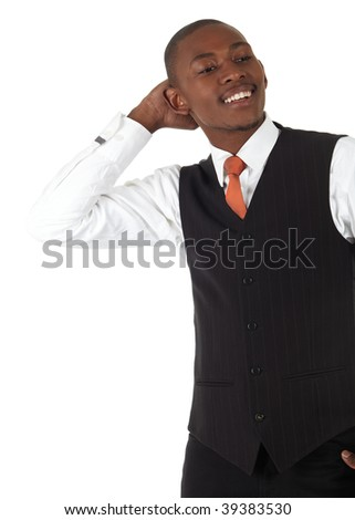 Young black african businessman in a formal suite and on a white background - NOT ISOLATED