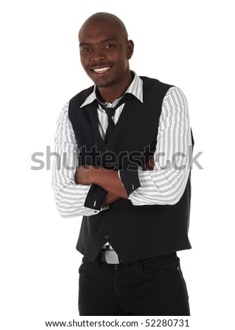 Young black African businessman in semi-formal clothes on a white background in various poses and with various facial expressions. Not Isolated,