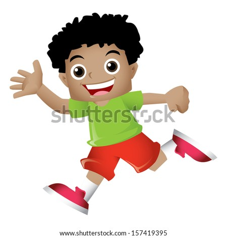 Young black boy waving happily - stock photo