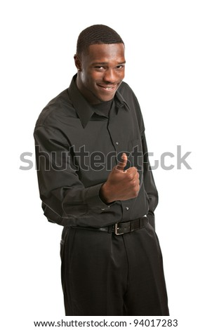 Young Black Business Man Portrait, Smiling , thumb up, Isolated on White Background - stock photo