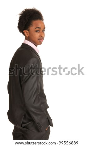 Young black business man standing in studio - stock photo