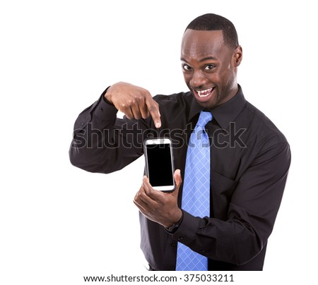 young black business man using cellphone on white background - stock photo