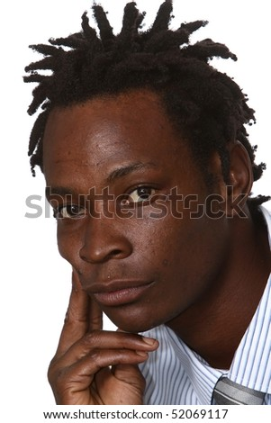 Young black business man with dreadlocks hairstyle - stock photo