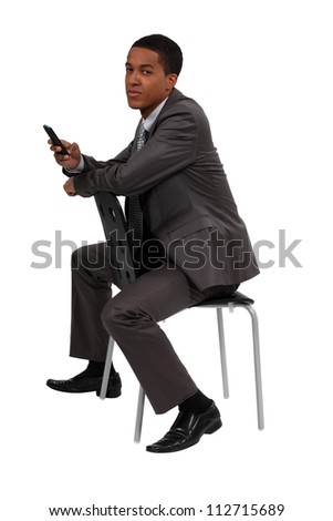 young black businessman making a call - stock photo