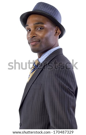 young black businessman side view on white background - stock photo
