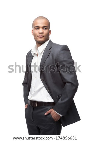young black businessman standing isolated on white - stock photo