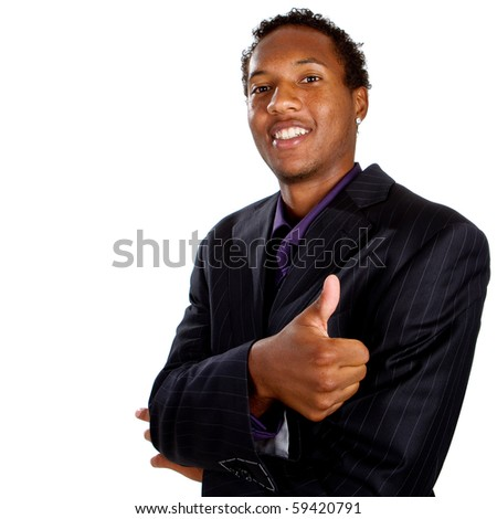 Young black businessman with suit isolated over white background. He is giving a thumbs up sign. - stock photo
