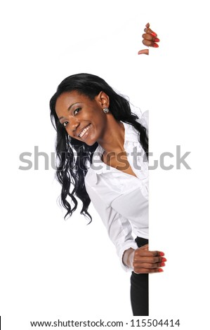 Young Black businesswoman with blank sign isolated on a white background