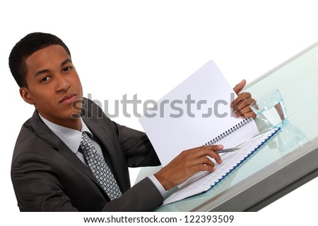 young black executive consulting report - stock photo