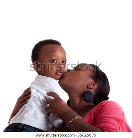 Young black family - stock photo