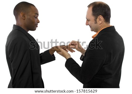 young black male and older Russian male getting married - stock photo