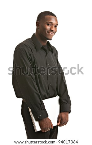 Young Black Male Holding Laptop Isolated on White Background - stock photo