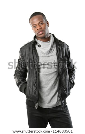 Young black male in a leather jacket