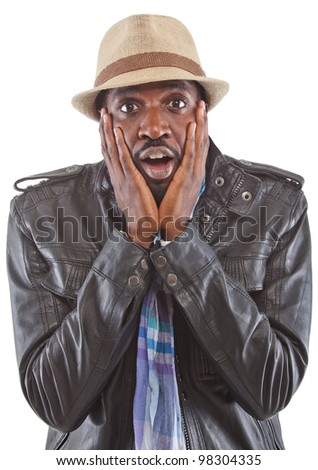 Young black man acting stunned - isolated over white background. - stock photo