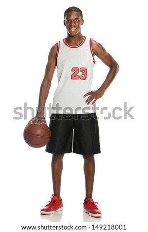 Young Black Man with basketball isolate on a white background - stock photo