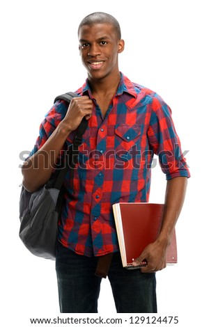 Young Black student with a copybook and a backpack isolated on a white background