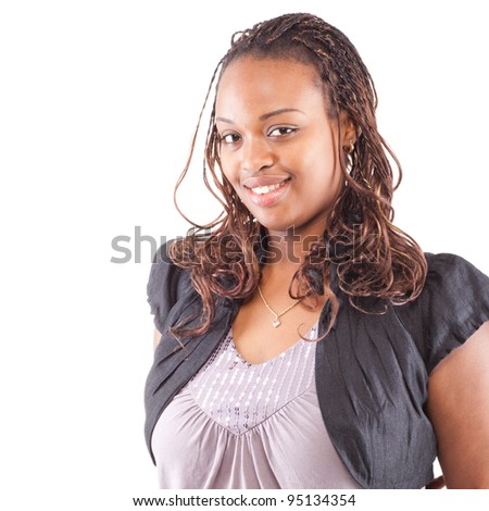 Young black woman isolated over white with a great smile.